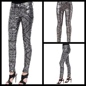 7FAM silver Sequin pattern rare skinny jeans